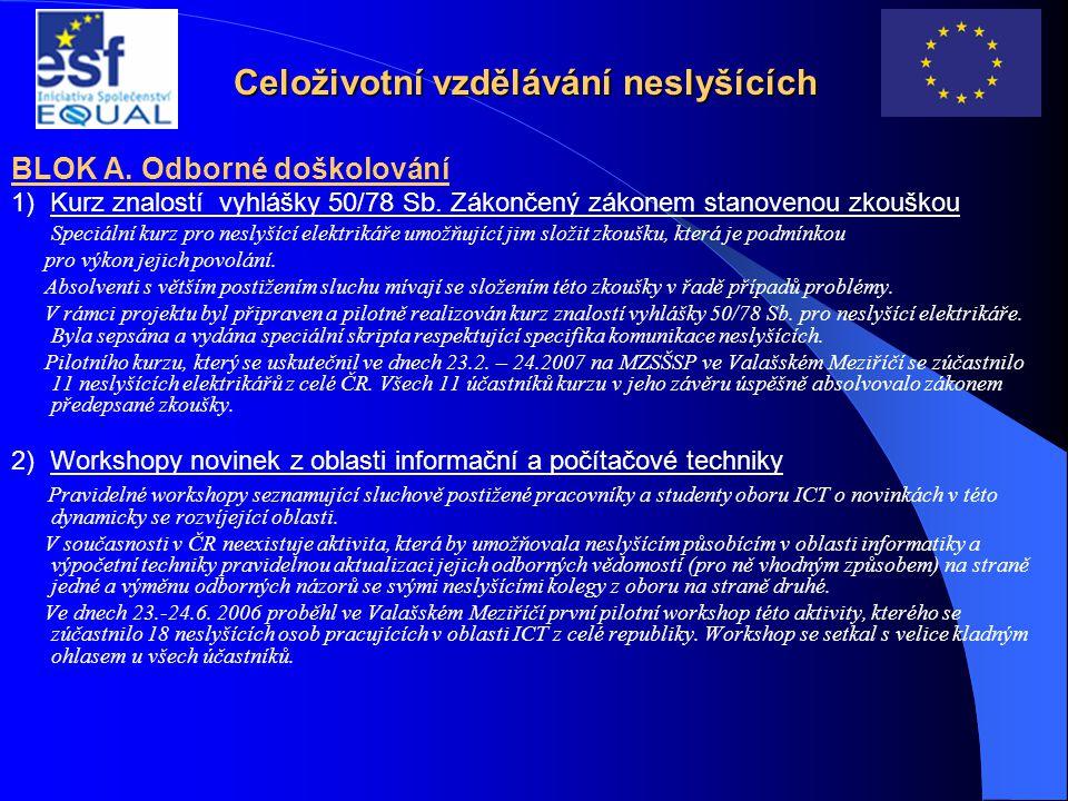 Celoživotní vzdělávání neslyšících BLOK A. Odborné doškolování 1) Kurz znalostí vyhlášky 50/78 Sb. Zákončený zákonem stanovenou zkouškou Speciální kur