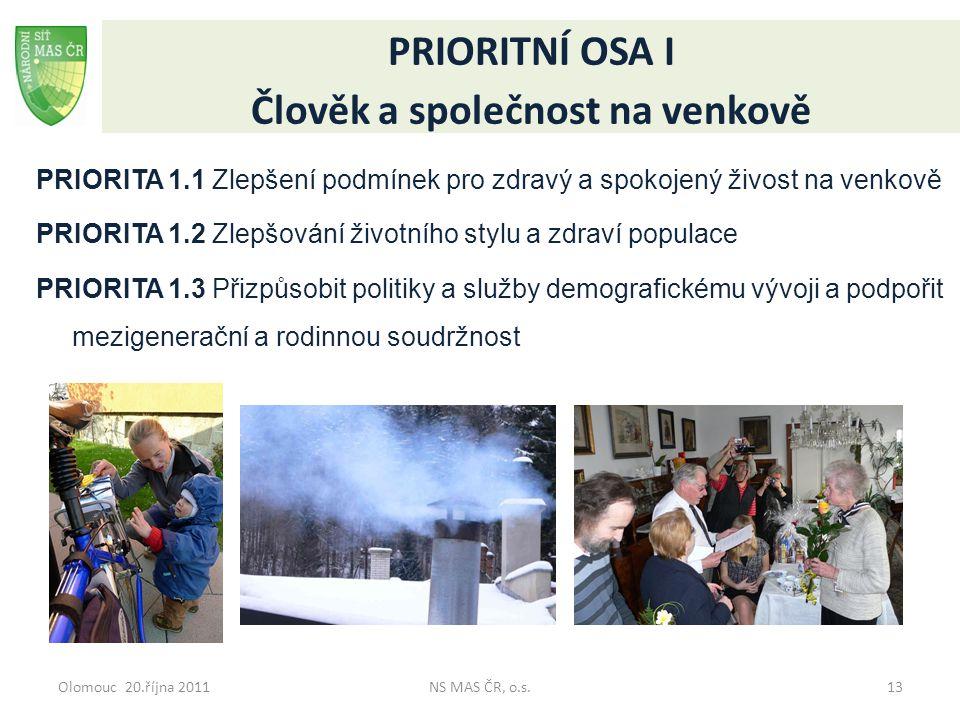 Olomouc 20.října 2011NS MAS ČR, o.s.13 PRIORITNÍ OSA I Člověk a společnost na venkově PRIORITA 1.1 Zlepšení podmínek pro zdravý a spokojený živost na