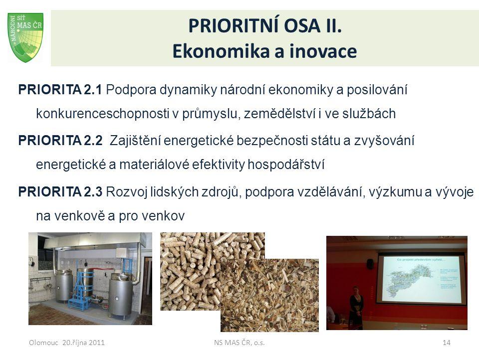 Olomouc 20.října 2011NS MAS ČR, o.s.14 PRIORITNÍ OSA II. Ekonomika a inovace PRIORITA 2.1 Podpora dynamiky národní ekonomiky a posilování konkurencesc