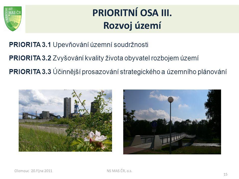 Olomouc 20.října 2011NS MAS ČR, o.s. 15 PRIORITNÍ OSA III. Rozvoj území PRIORITA 3.1 Upevňování územní soudržnosti PRIORITA 3.2 Zvyšování kvality živo