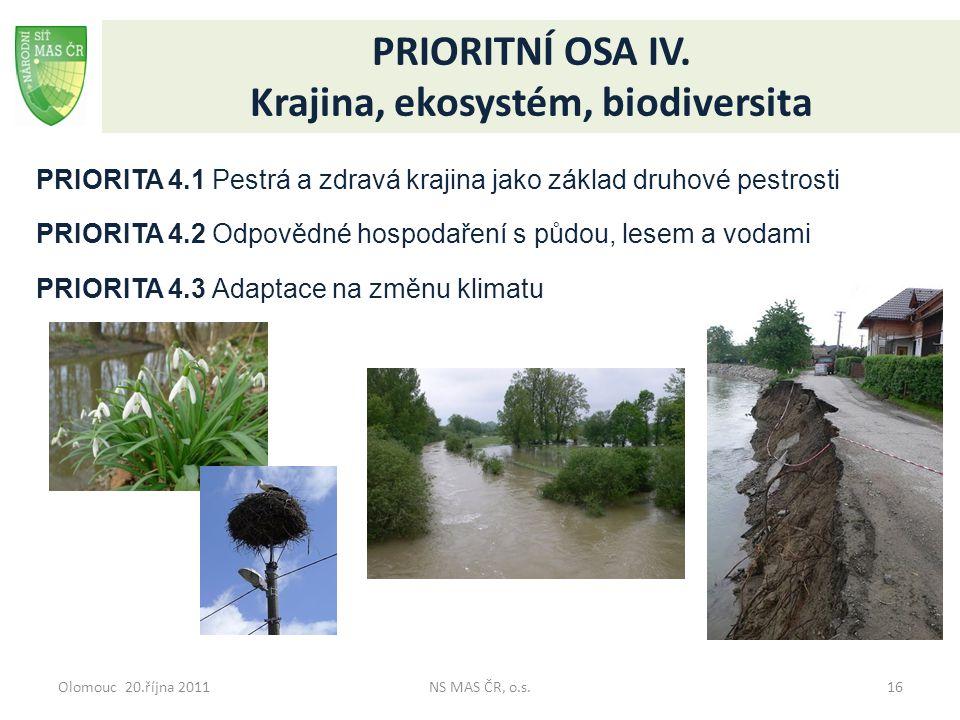 Olomouc 20.října 2011NS MAS ČR, o.s.16 PRIORITNÍ OSA IV. Krajina, ekosystém, biodiversita PRIORITA 4.1 Pestrá a zdravá krajina jako základ druhové pes