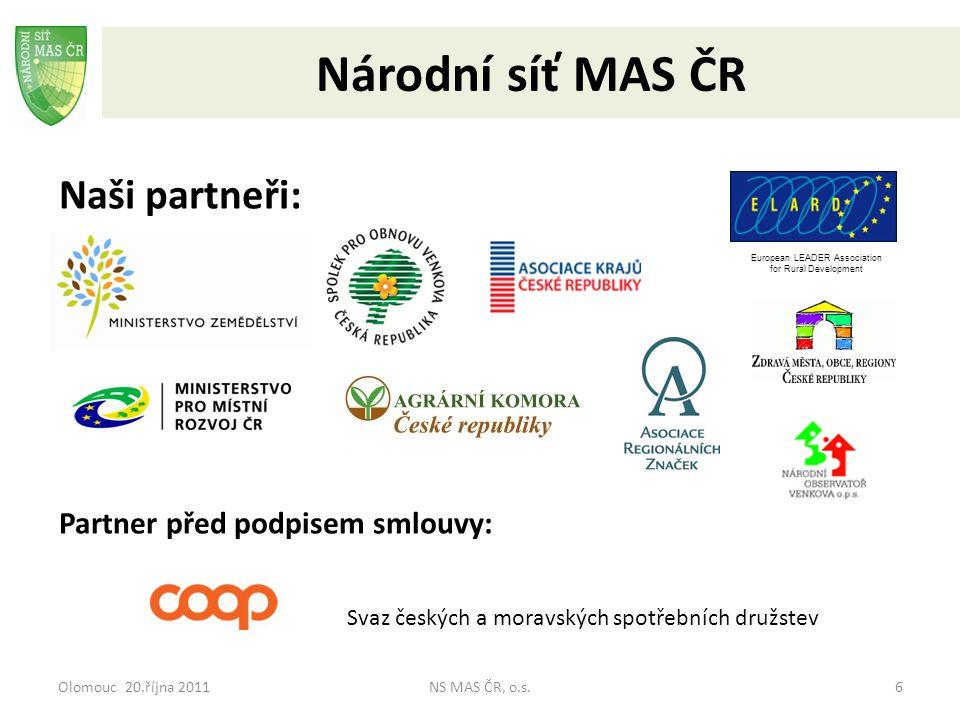 Olomouc 20.října 2011NS MAS ČR, o.s.7 Národní síť MAS ČR Stav členské základny k 15.10.