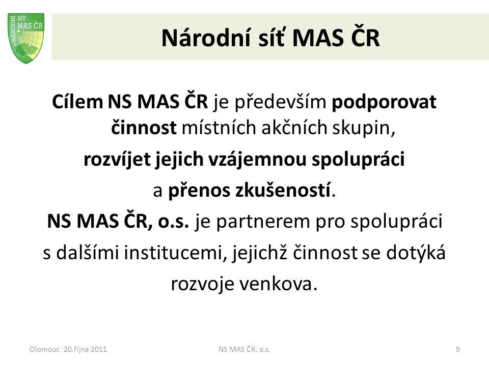 Olomouc 20.října 2011NS MAS ČR, o.s.9 Národní síť MAS ČR Cílem NS MAS ČR je především podporovat činnost místních akčních skupin, rozvíjet jejich vzáj