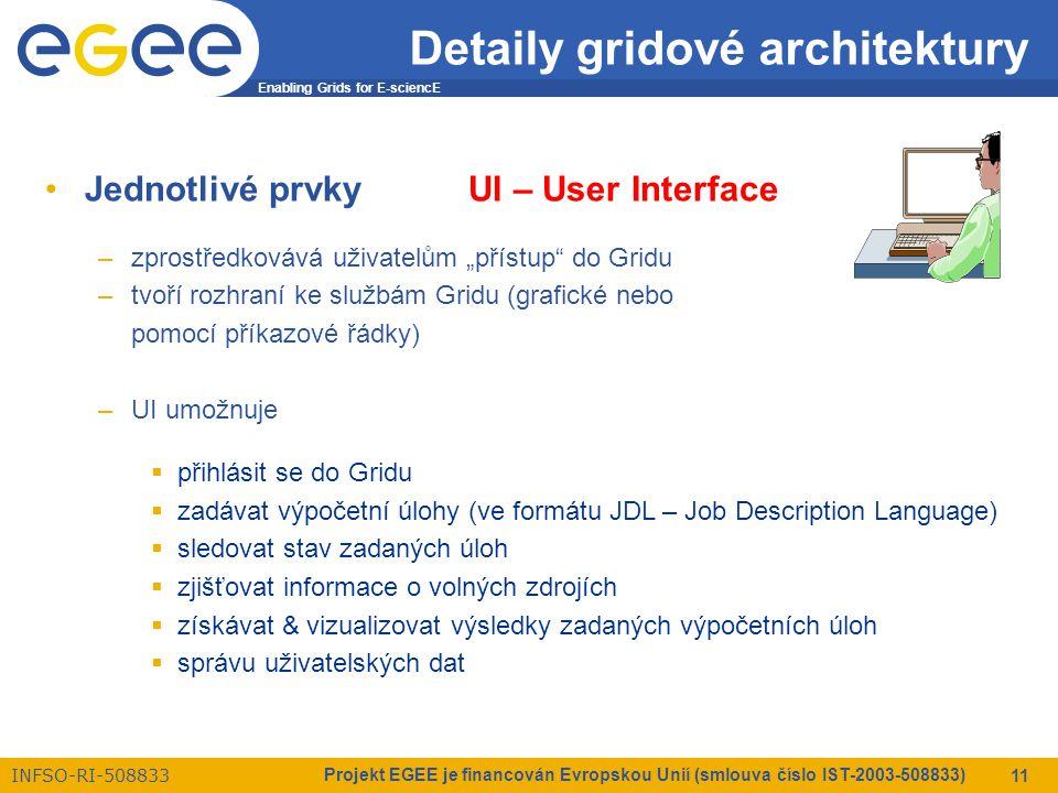 """Enabling Grids for E-sciencE INFSO-RI-508833 Projekt EGEE je financován Evropskou Unií (smlouva číslo IST-2003-508833) 11 Detaily gridové architektury Jednotlivé prvkyUI – User Interface –zprostředkovává uživatelům """"přístup do Gridu –tvoří rozhraní ke službám Gridu (grafické nebo pomocí příkazové řádky) –UI umožnuje  přihlásit se do Gridu  zadávat výpočetní úlohy (ve formátu JDL – Job Description Language)  sledovat stav zadaných úloh  zjišťovat informace o volných zdrojích  získávat & vizualizovat výsledky zadaných výpočetních úloh  správu uživatelských dat"""