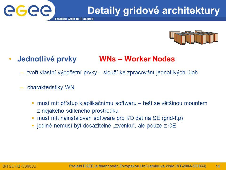 """Enabling Grids for E-sciencE INFSO-RI-508833 Projekt EGEE je financován Evropskou Unií (smlouva číslo IST-2003-508833) 14 Detaily gridové architektury Jednotlivé prvkyWNs – Worker Nodes –tvoří vlastní výpočetní prvky – slouží ke zpracování jednotlivých úloh –charakteristiky WN  musí mít přístup k aplikačnímu softwaru – řeší se většinou mountem z nějakého sdíleného prostředku  musí mít nainstalován software pro I/O dat na SE (grid-ftp)  jediné nemusí být dosažitelné """"zvenku , ale pouze z CE"""