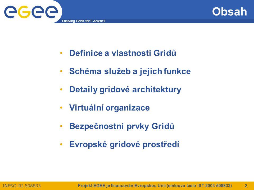 Enabling Grids for E-sciencE INFSO-RI-508833 Projekt EGEE je financován Evropskou Unií (smlouva číslo IST-2003-508833) 2 Obsah Definice a vlastnosti Gridů Schéma služeb a jejich funkce Detaily gridové architektury Virtuální organizace Bezpečnostní prvky Gridů Evropské gridové prostředí