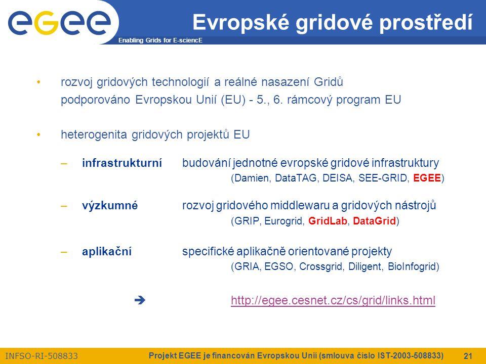 Enabling Grids for E-sciencE INFSO-RI-508833 Projekt EGEE je financován Evropskou Unií (smlouva číslo IST-2003-508833) 21 Evropské gridové prostředí rozvoj gridových technologií a reálné nasazení Gridů podporováno Evropskou Unií (EU) - 5., 6.