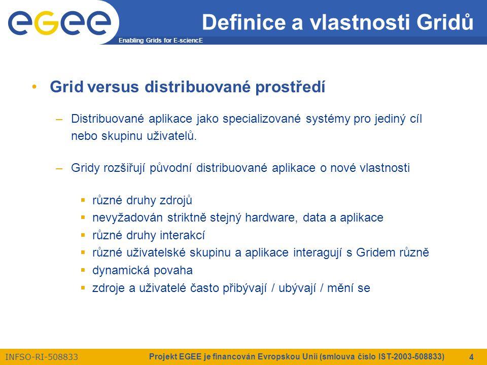 Enabling Grids for E-sciencE INFSO-RI-508833 Projekt EGEE je financován Evropskou Unií (smlouva číslo IST-2003-508833) 5 Definice a vlastnosti Gridů Vlastnosti Gridu/Gridů –velmi početné výpočetní zdroje –výpočetní zdroje jsou  heterogenní  geograficky separované  spojeny heterogenními sítěmi  plně pod kontrolou jejich vlastníků –vlastnictví vzájemně nezávislými organizacemi & jedinci –vyžadovány různé bezpečnostní požadavky a pravidla –vyžadována různá pravidla správy zdrojů –potenciální zahrnutí vadných zdrojů