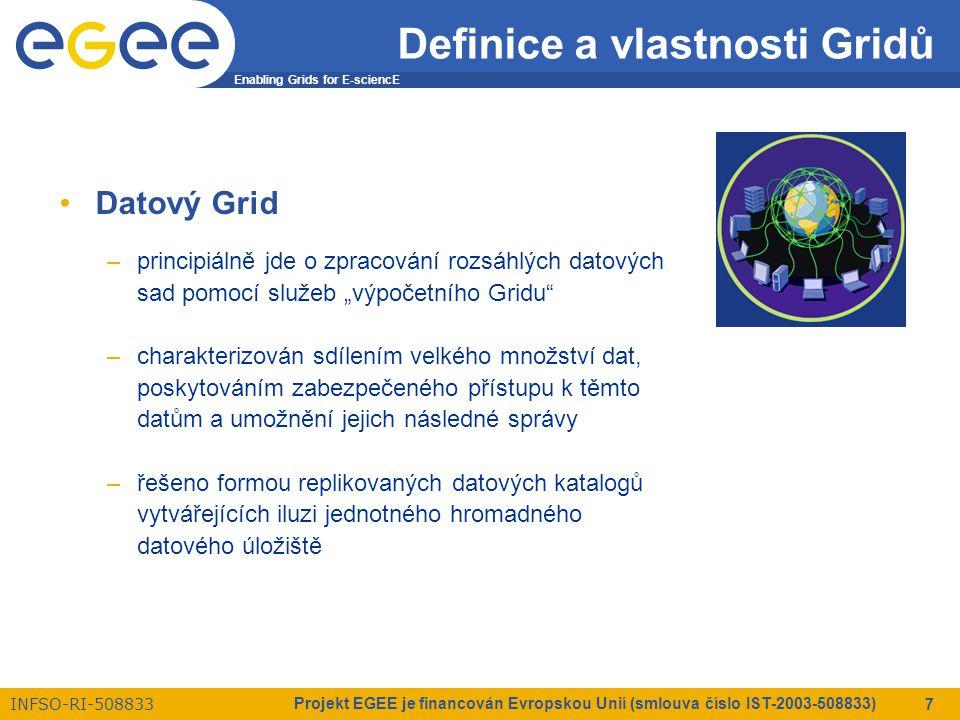 """Enabling Grids for E-sciencE INFSO-RI-508833 Projekt EGEE je financován Evropskou Unií (smlouva číslo IST-2003-508833) 18 Bezpečnostní prvky Gridů Aspekty gridové bezpečnosti –vyžadován je zabezpečený přístup ke zdrojům –použití X.509 Public Key Infrastructure (PKI) –každý uživatel a služba musí vlastnit důvěryhodný X.509 certifikát –Delegování práv  """"Akt předání práv organizaci, osobě nebo službě jednat jako Váš zástupce (tj."""