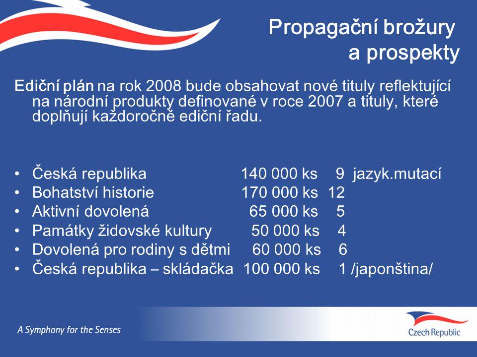 Propagační brožury a prospekty Ediční plán na rok 2008 bude obsahovat nové tituly reflektující na národní produkty definované v roce 2007 a tituly, které doplňují každoročně ediční řadu.