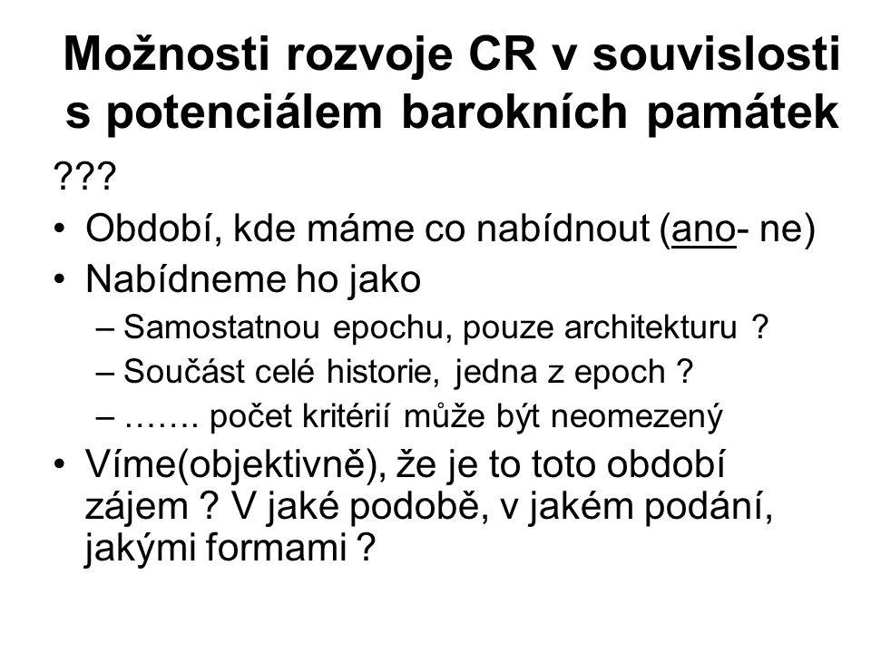 Možnosti rozvoje CR v souvislosti s potenciálem barokních památek ??.