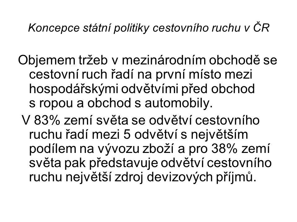 Koncepce státní politiky cestovního ruchu v ČR Objemem tržeb v mezinárodním obchodě se cestovní ruch řadí na první místo mezi hospodářskými odvětvími před obchod s ropou a obchod s automobily.