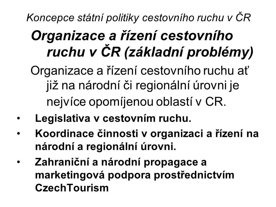 Koncepce státní politiky cestovního ruchu v ČR Organizace a řízení cestovního ruchu v ČR (základní problémy) Organizace a řízení cestovního ruchu ať již na národní či regionální úrovni je nejvíce opomíjenou oblastí v CR.