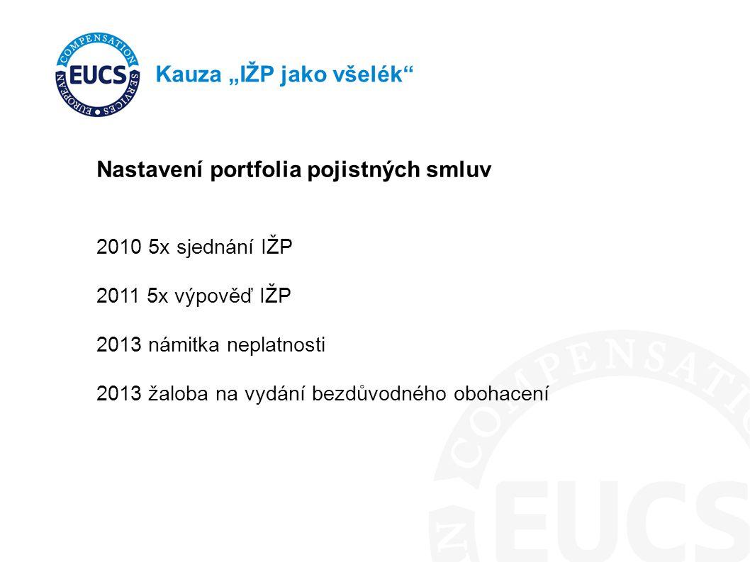 """Kauza """"IŽP jako všelék Nastavení portfolia pojistných smluv 2010 5x sjednání IŽP 2011 5x výpověď IŽP 2013 námitka neplatnosti 2013 žaloba na vydání bezdůvodného obohacení"""
