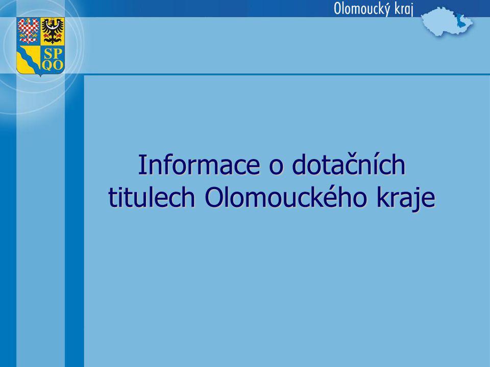 Informace o dotačních titulech Olomouckého kraje