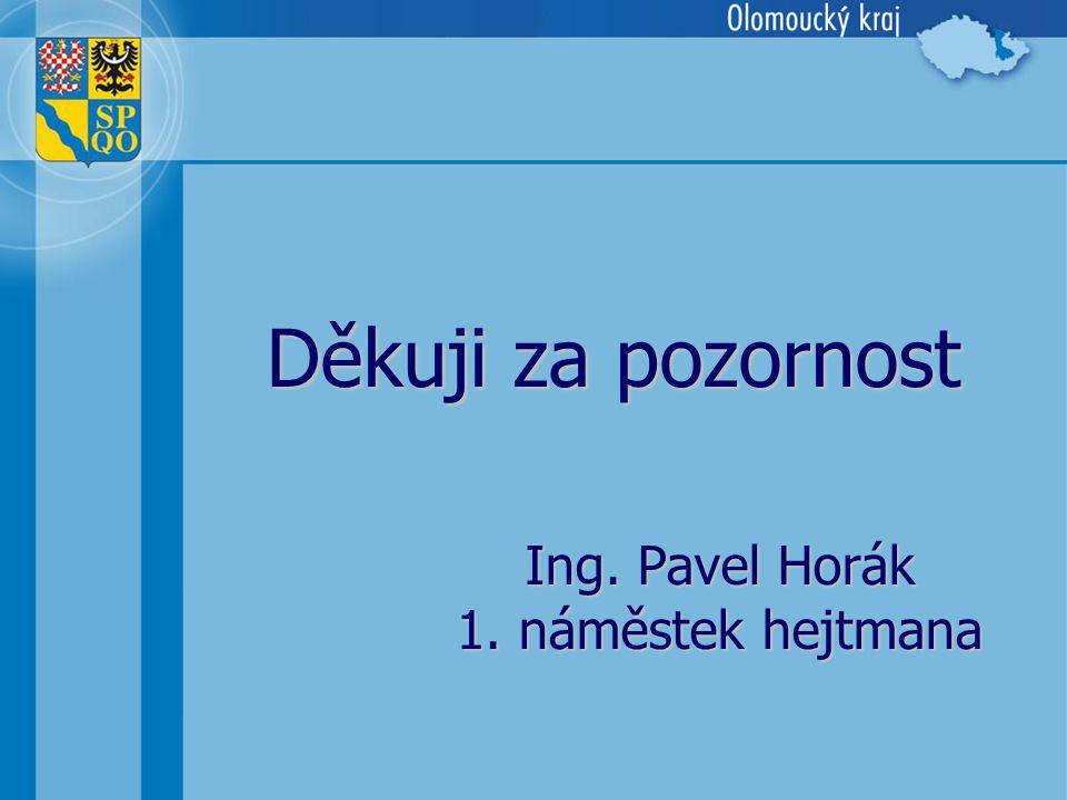 Děkuji za pozornost Ing. Pavel Horák 1. náměstek hejtmana