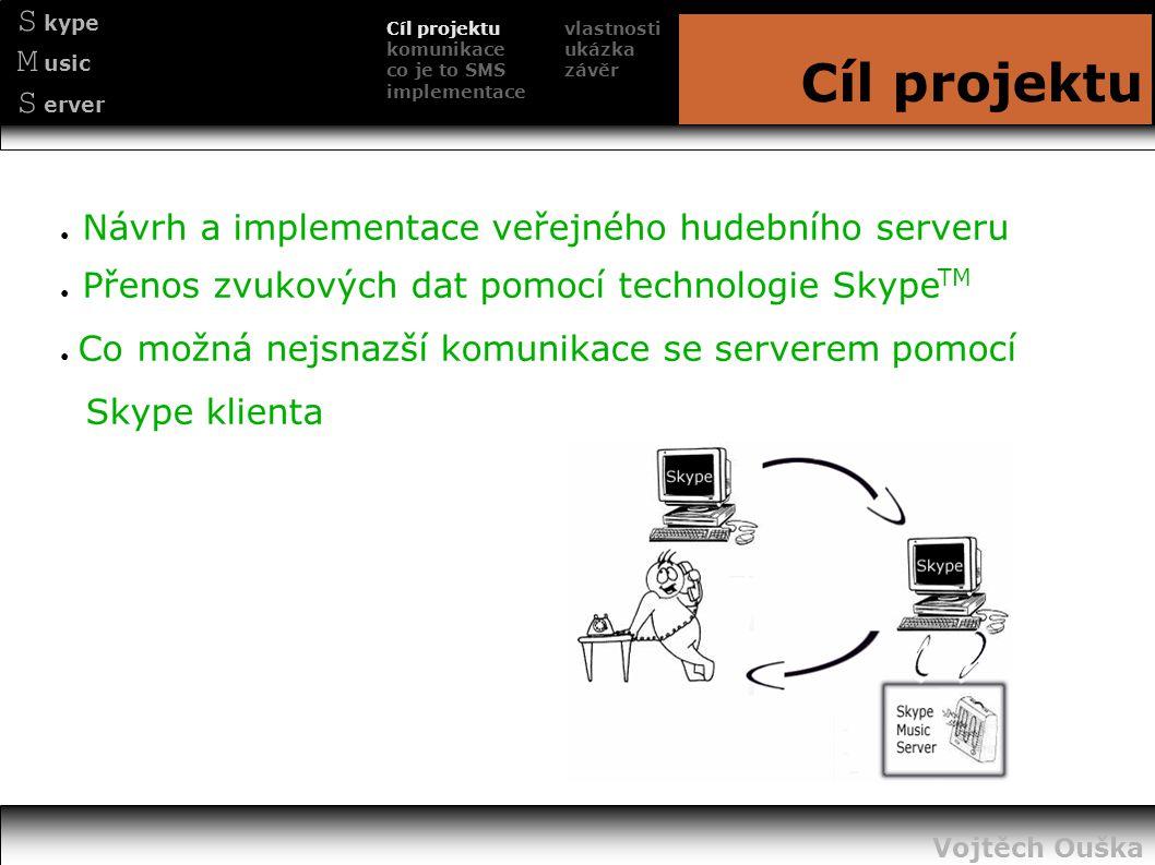 S kype M usic S erver Cíl projektu ● Návrh a implementace veřejného hudebního serveru ● Přenos zvukových dat pomocí technologie Skype TM ● Co možná ne