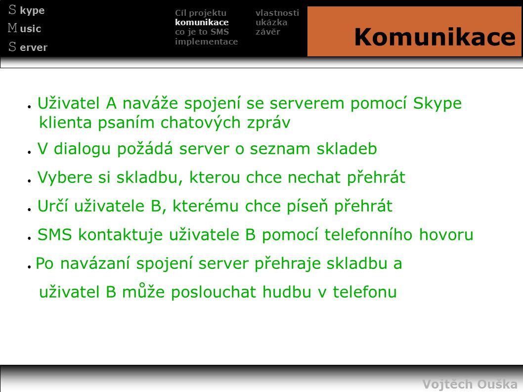 Cíl projektu komunikace co je to SMS implementace S kype M usic S erver Komunikace ● Uživatel A naváže spojení se serverem pomocí Skype klienta psaním
