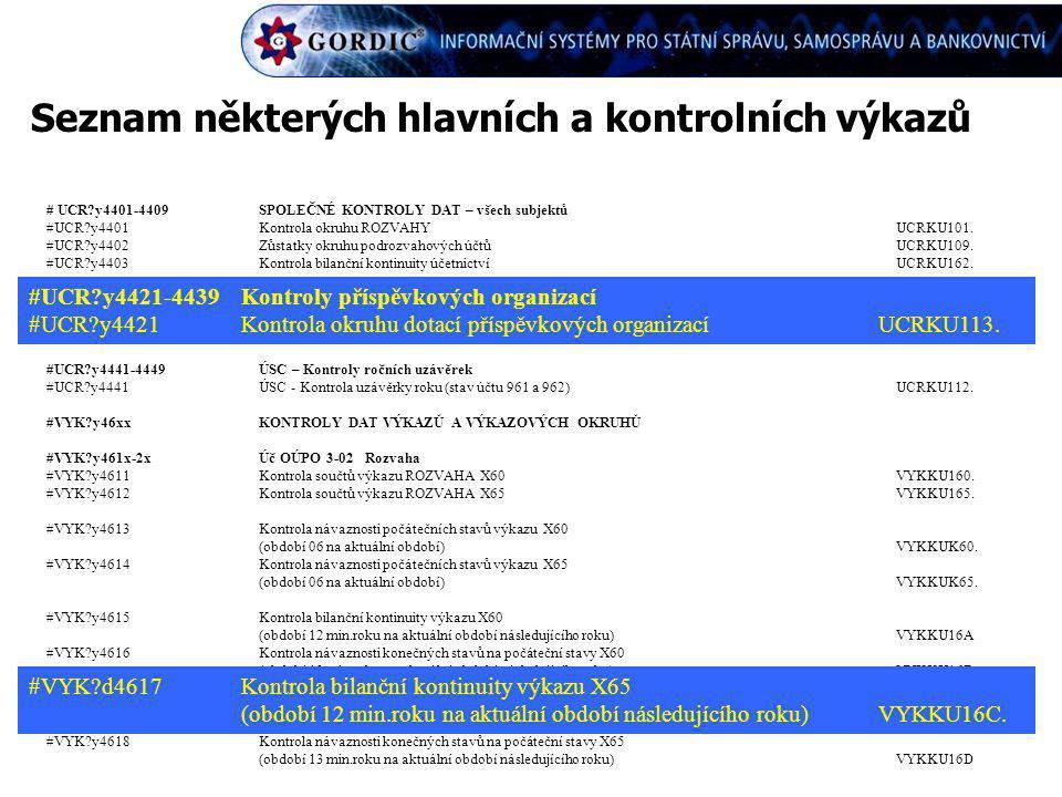 Seznam některých hlavních a kontrolních výkazů # UCR?y4401-4409SPOLEČNÉ KONTROLY DAT – všech subjektů #UCR?y4401Kontrola okruhu ROZVAHYUCRKU101. #UCR?