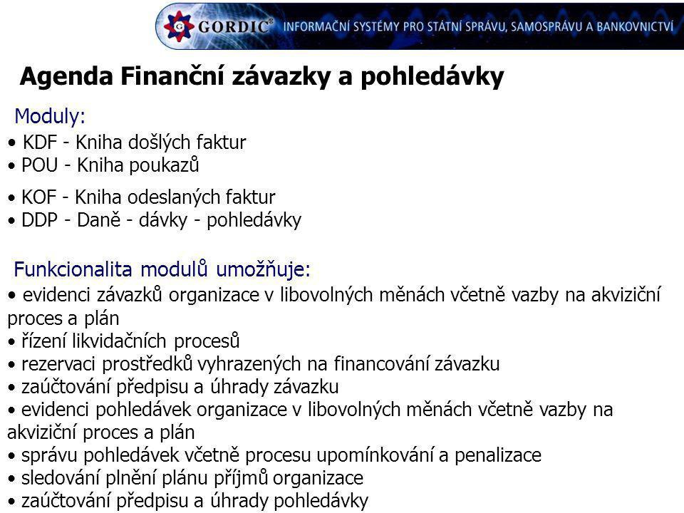 Agenda Finanční závazky a pohledávky Moduly: KDF - Kniha došlých faktur POU - Kniha poukazů KOF - Kniha odeslaných faktur DDP - Daně - dávky - pohledá