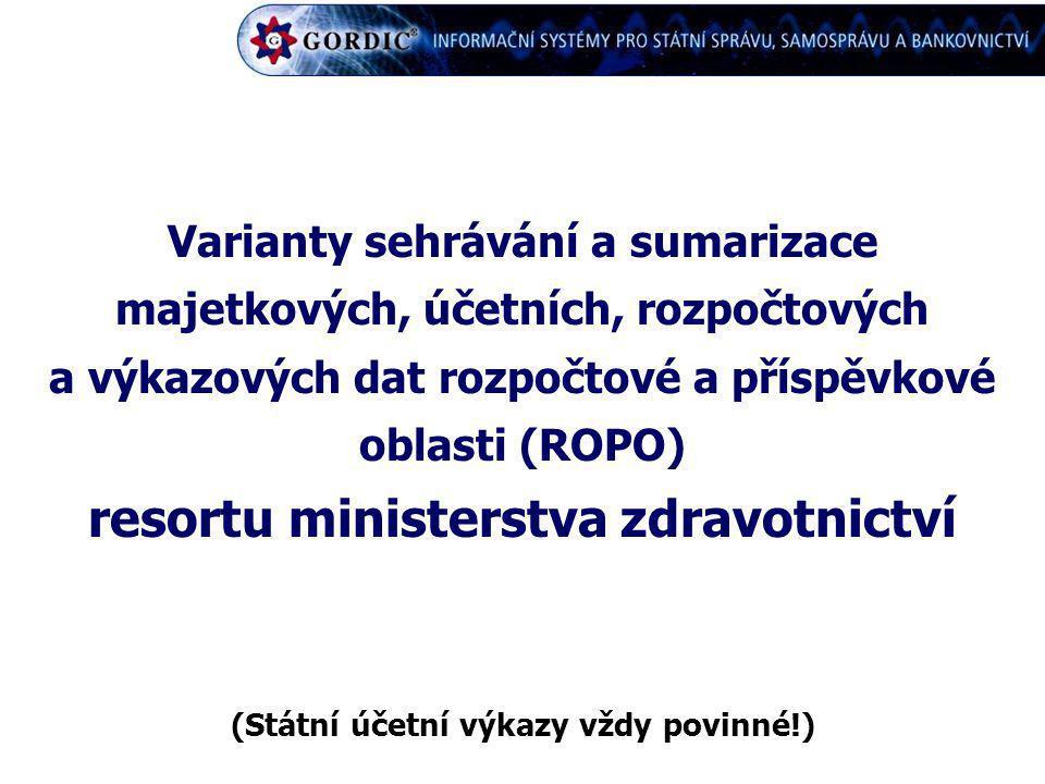 Varianty sehrávání a sumarizace majetkových, účetních, rozpočtových a výkazových dat rozpočtové a příspěvkové oblasti (ROPO) resortu ministerstva zdra