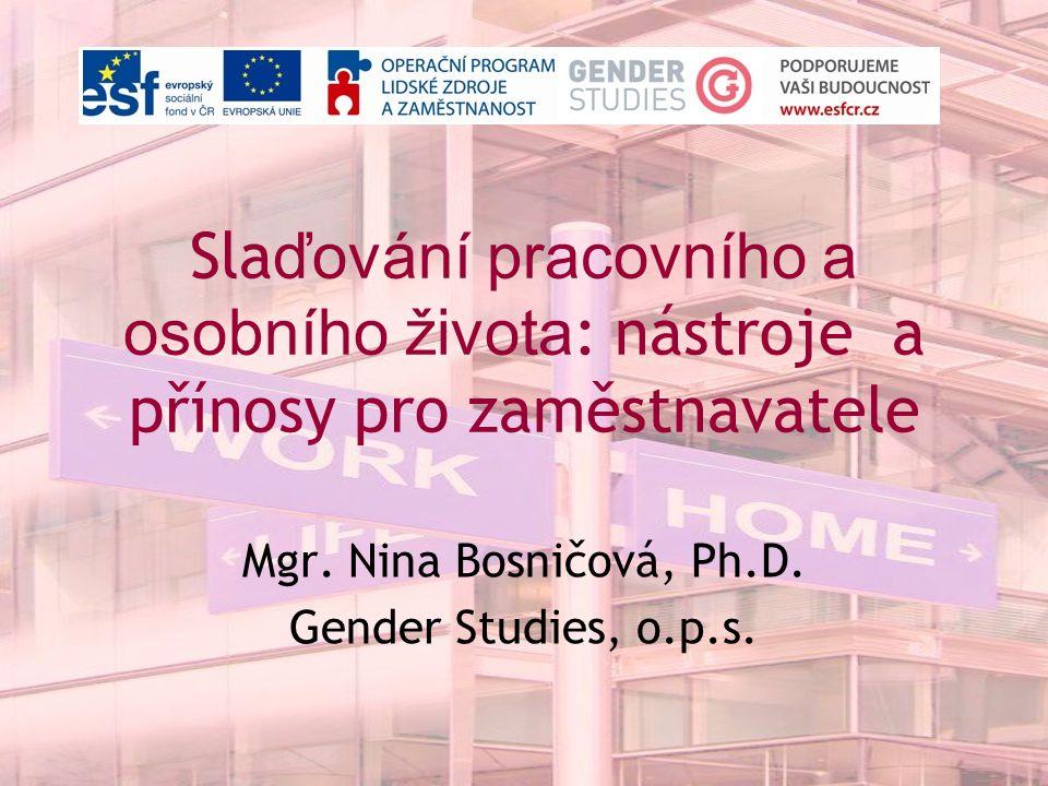 Sla ďování pracovního a osobního života : nástroje a přínosy pro zaměstnavatele Mgr. Nina Bosničová, Ph.D. Gender Studies, o.p.s.