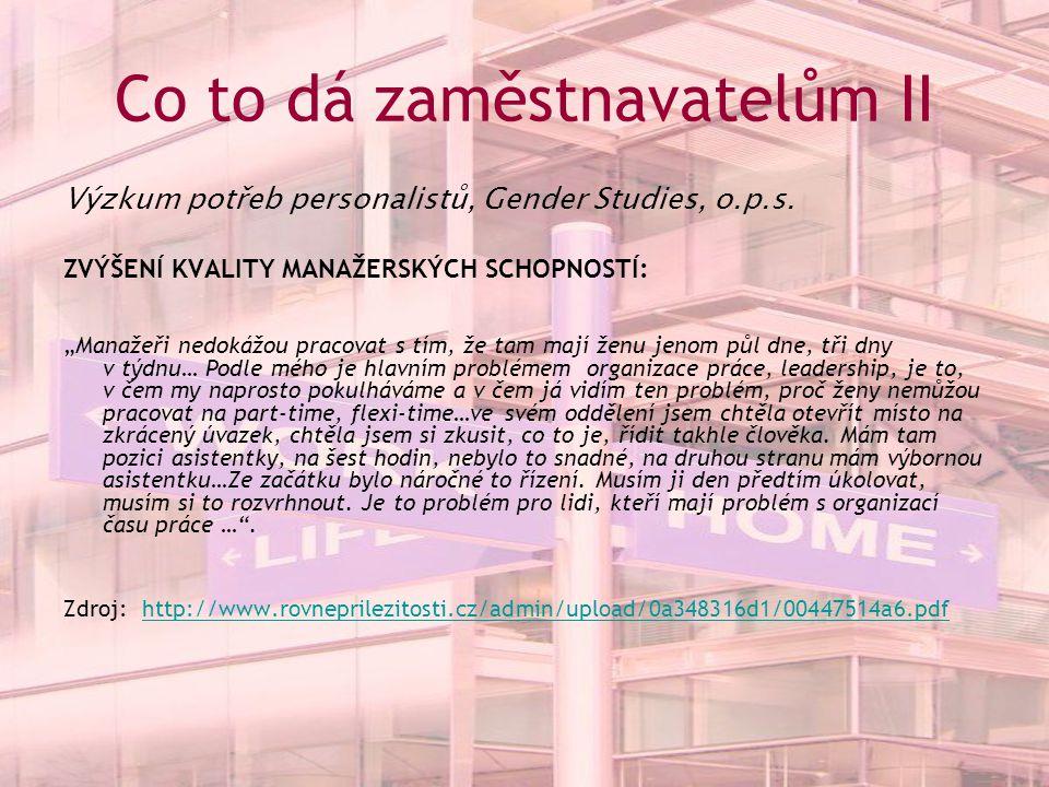 Co to dá zaměstnavatelům II Výzkum potřeb personalistů, Gender Studies, o.p.s.