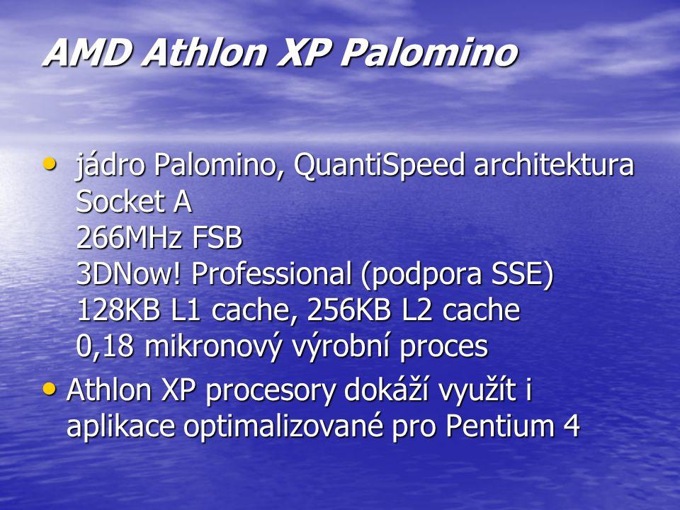 AMD Athlon Thunderbird vyrobený v roce 2000 vyrobený v roce 2000 Narozdíl od původních Athlonů má tzv. cash paměť