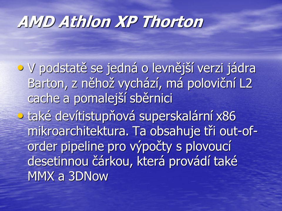 AMD Athlon XP Barton označením Barton přináší oproti svému předchůdci Thoroughbred dvojnásobnou L2 cache, díky čemuž dosahuje vyššího výkonu při stejn