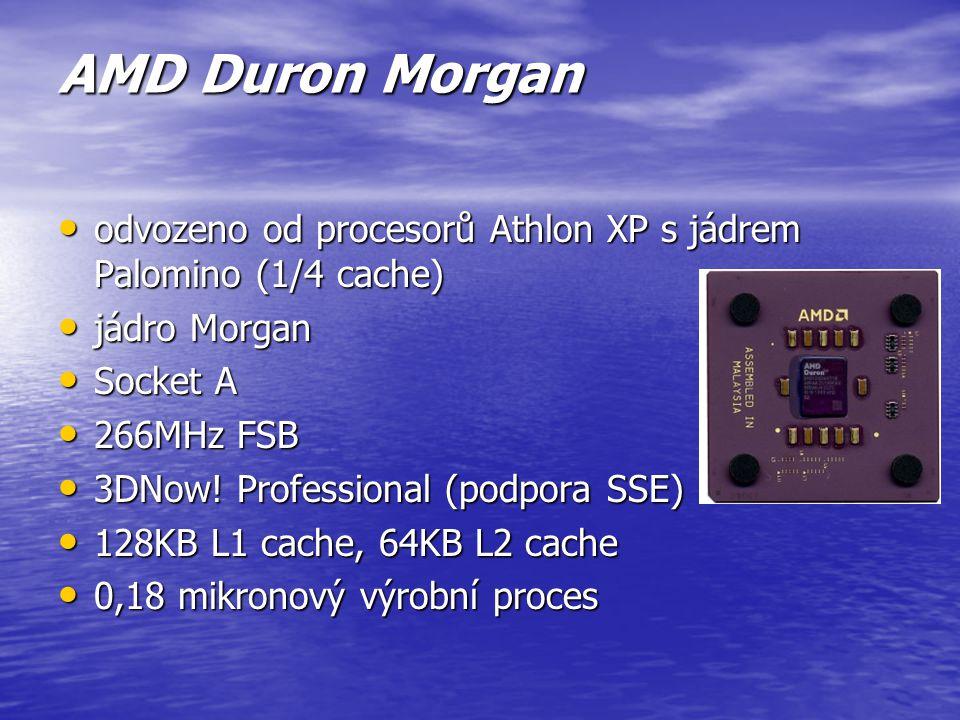 AMD Athlon XP Thorton V podstatě se jedná o levnější verzi jádra Barton, z něhož vychází, má poloviční L2 cache a pomalejší sběrnici V podstatě se jed