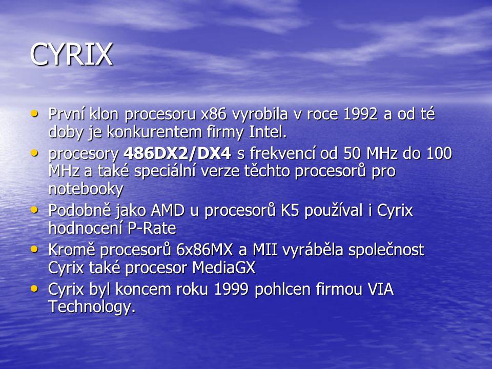 AMD a jejich historie NEUSÍNEJTE !!!! 1969 - vzniká Am9300, 4-bitový MSI posuvný registr 1986 - představena řada 29300 (32-bitové čipy); 1987 - AMD za