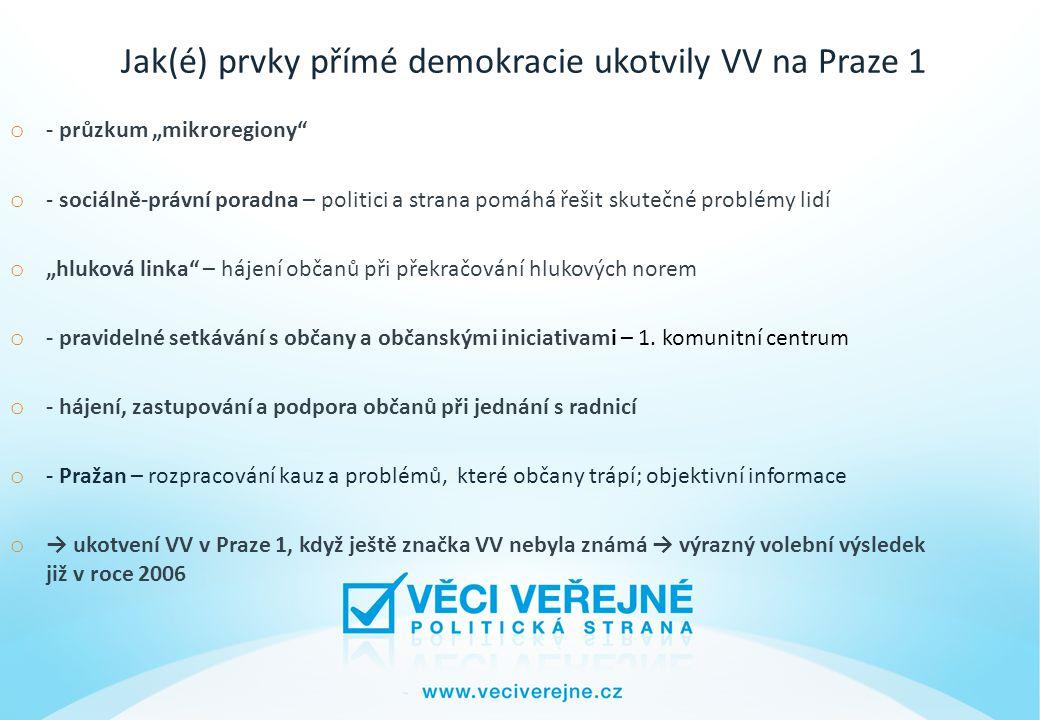 """Jak(é) prvky přímé demokracie ukotvily VV na Praze 1 o - průzkum """"mikroregiony o - sociálně-právní poradna – politici a strana pomáhá řešit skutečné problémy lidí o """"hluková linka – hájení občanů při překračování hlukových norem o - pravidelné setkávání s občany a občanskými iniciativami – 1."""