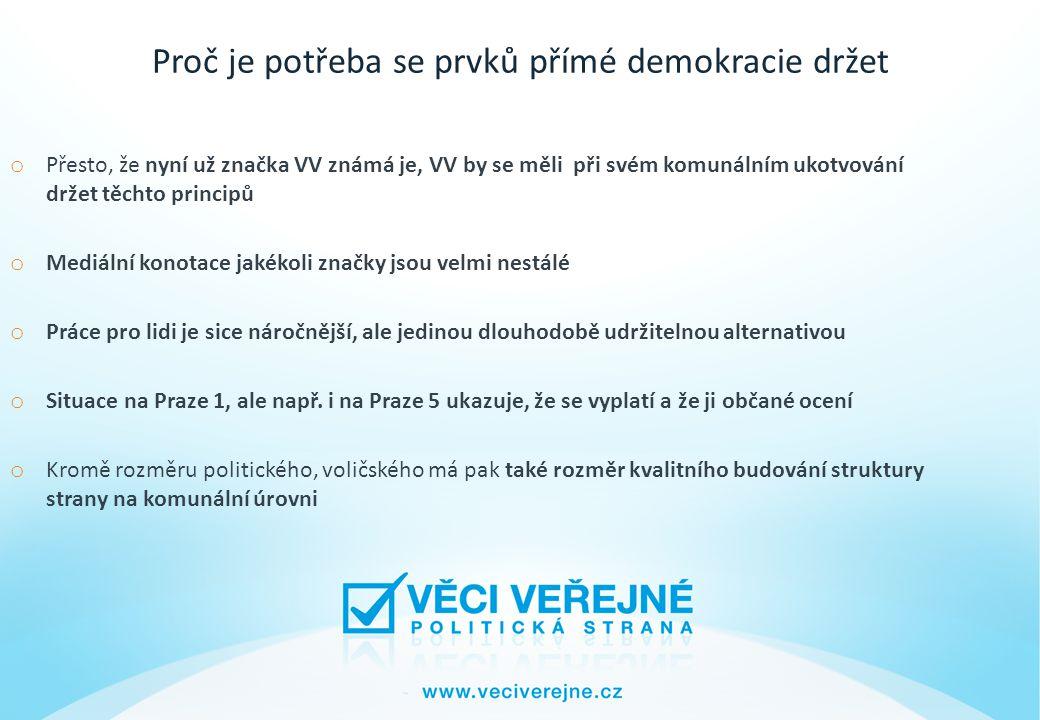 Proč je potřeba se prvků přímé demokracie držet o Přesto, že nyní už značka VV známá je, VV by se měli při svém komunálním ukotvování držet těchto principů o Mediální konotace jakékoli značky jsou velmi nestálé o Práce pro lidi je sice náročnější, ale jedinou dlouhodobě udržitelnou alternativou o Situace na Praze 1, ale např.