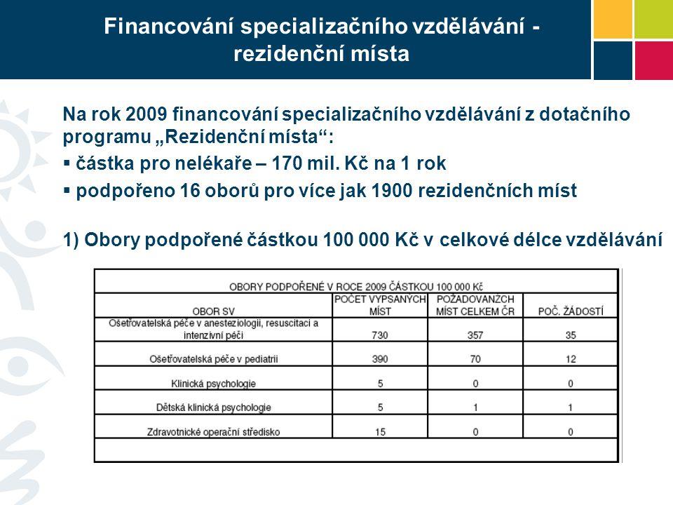 """Financování specializačního vzdělávání - rezidenční místa Na rok 2009 financování specializačního vzdělávání z dotačního programu """"Rezidenční místa :  částka pro nelékaře – 170 mil."""