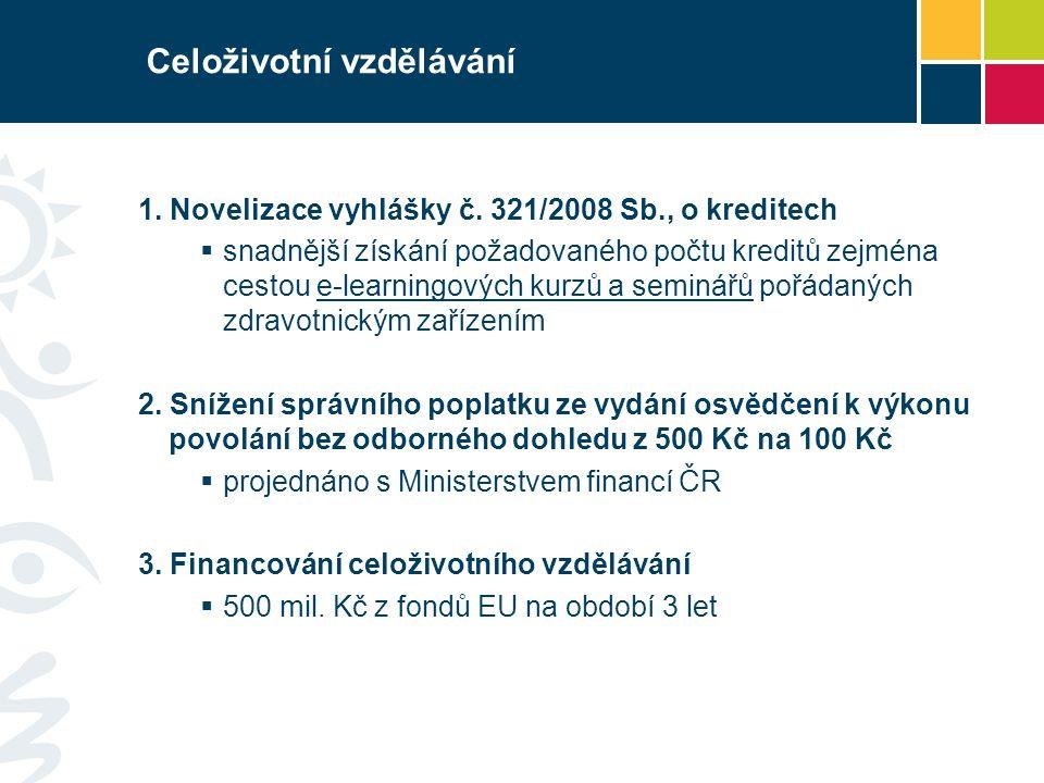 Celoživotní vzdělávání 1. Novelizace vyhlášky č.