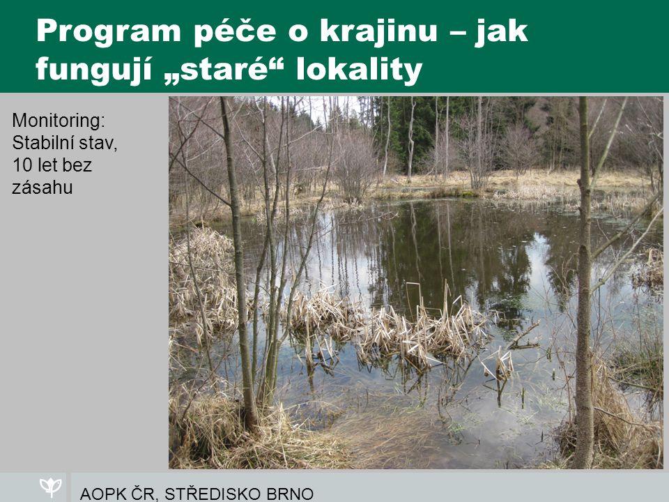 """AOPK ČR, STŘEDISKO BRNO Program péče o krajinu – jak fungují """"staré lokality Monitoring: Stabilní stav, 10 let bez zásahu"""