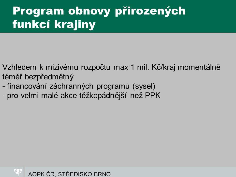 AOPK ČR, STŘEDISKO BRNO Program obnovy přirozených funkcí krajiny Vzhledem k mizivému rozpočtu max 1 mil.