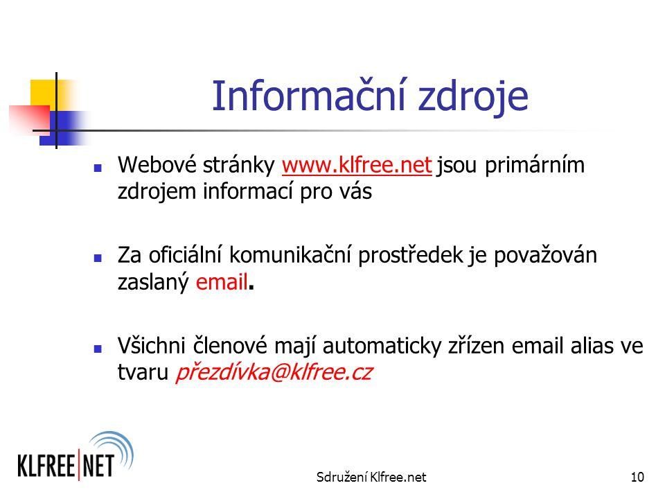 Sdružení Klfree.net10 Informační zdroje Webové stránky www.klfree.net jsou primárním zdrojem informací pro váswww.klfree.net Za oficiální komunikační prostředek je považován zaslaný email.