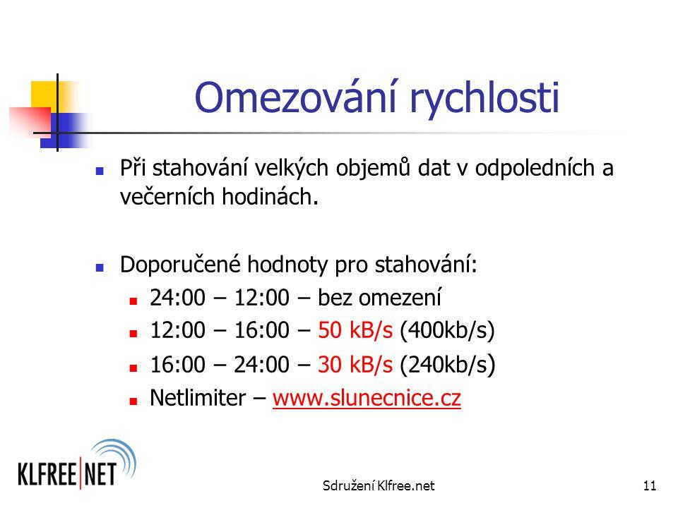 Sdružení Klfree.net11 Omezování rychlosti Při stahování velkých objemů dat v odpoledních a večerních hodinách.