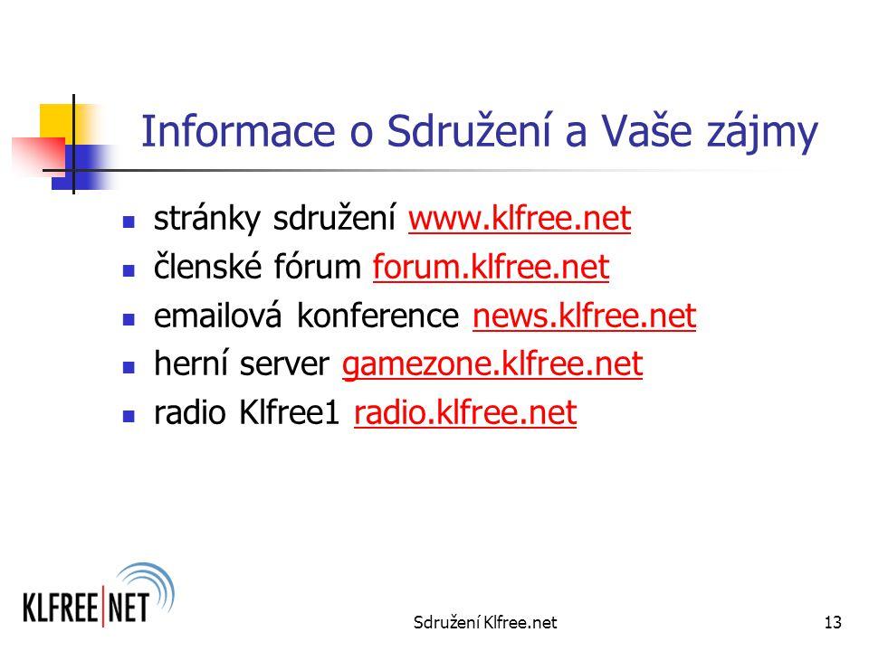 Sdružení Klfree.net13 Informace o Sdružení a Vaše zájmy stránky sdružení www.klfree.netwww.klfree.net členské fórum forum.klfree.net emailová konference news.klfree.netnews.klfree.net herní server gamezone.klfree.netgamezone.klfree.net radio Klfree1 radio.klfree.netradio.klfree.net