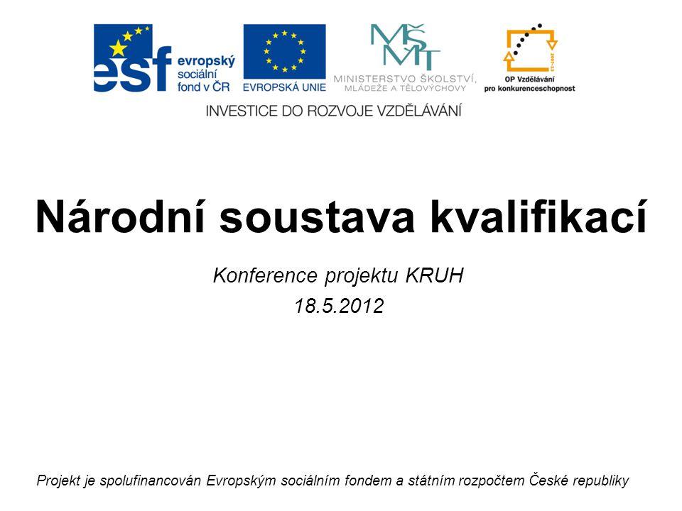 Národní soustava kvalifikací Projekt je spolufinancován Evropským sociálním fondem a státním rozpočtem České republiky Konference projektu KRUH 18.5.2