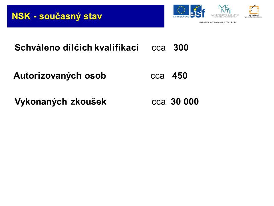 Schváleno dílčích kvalifikací cca 300 Autorizovaných osob cca 450 Vykonaných zkoušekcca 30 000 NSK - současný stav