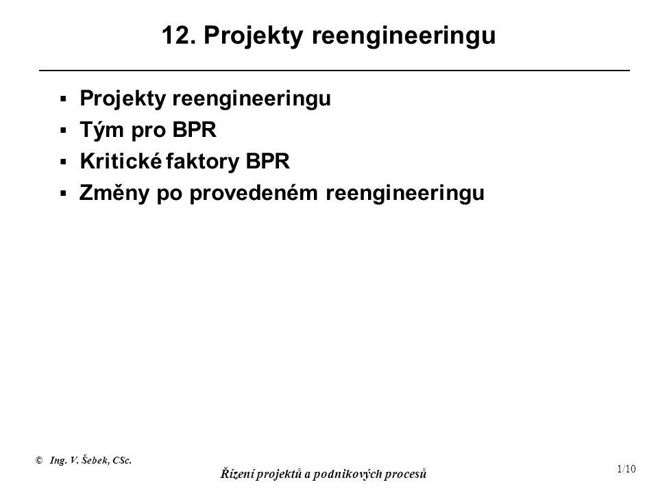 © Ing. V. Šebek, CSc. Řízení projektů a podnikových procesů 1/10 12. Projekty reengineeringu  Projekty reengineeringu  Tým pro BPR  Kritické faktor