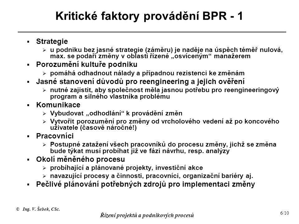 © Ing. V. Šebek, CSc. Řízení projektů a podnikových procesů 6/10 Kritické faktory provádění BPR - 1  Strategie  u podniku bez jasné strategie (záměr