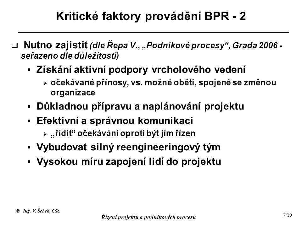 """© Ing. V. Šebek, CSc. Řízení projektů a podnikových procesů 7/10 Kritické faktory provádění BPR - 2  Nutno zajistit (dle Řepa V., """"Podnikové procesy"""""""