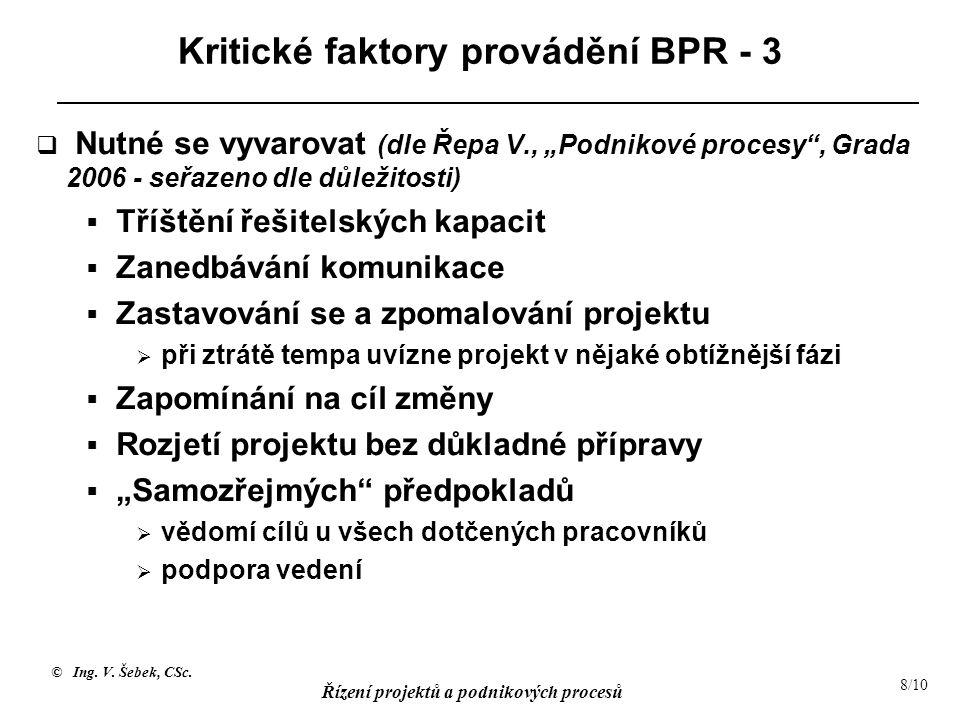 """© Ing. V. Šebek, CSc. Řízení projektů a podnikových procesů 8/10 Kritické faktory provádění BPR - 3  Nutné se vyvarovat (dle Řepa V., """"Podnikové proc"""