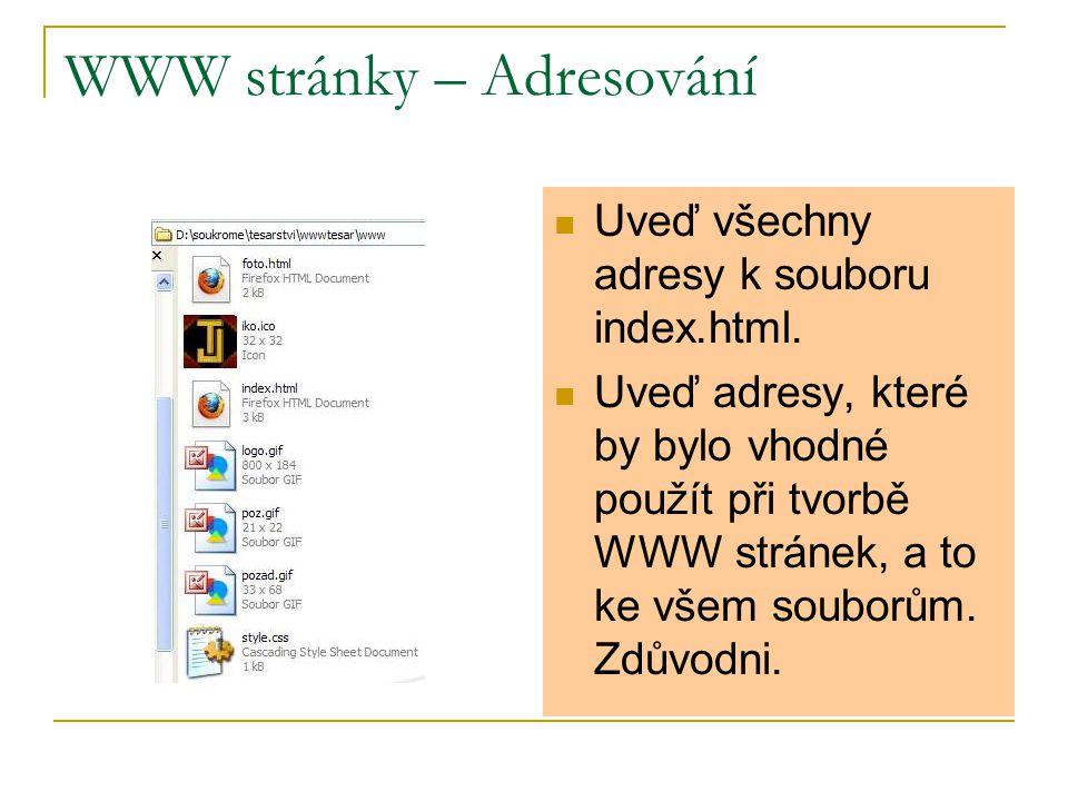 WWW stránky – Adresování Uveď všechny adresy k souboru index.html.