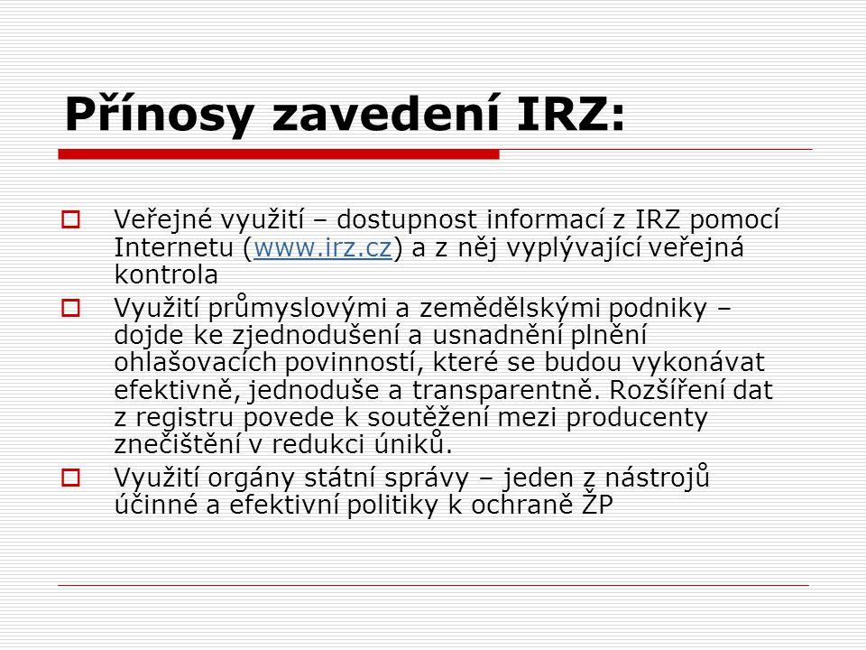 Přínosy zavedení IRZ:  Veřejné využití – dostupnost informací z IRZ pomocí Internetu (www.irz.cz) a z něj vyplývající veřejná kontrolawww.irz.cz  Vy