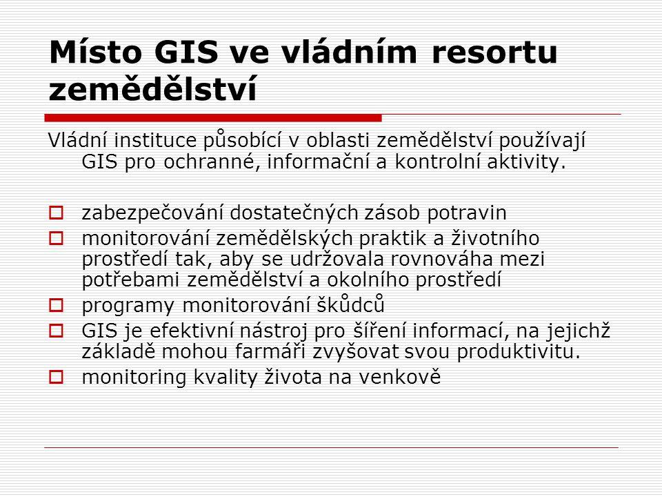 Místo GIS ve vládním resortu zemědělství Vládní instituce působící v oblasti zemědělství používají GIS pro ochranné, informační a kontrolní aktivity.