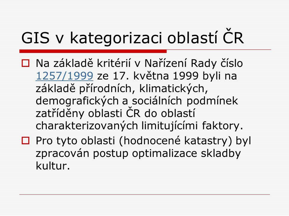 GIS v kategorizaci oblastí ČR  Na základě kritérií v Nařízení Rady číslo 1257/1999 ze 17. května 1999 byli na základě přírodních, klimatických, demog